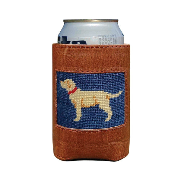 Smathers & Branson Yellow Lab Needlepoint Can Cooler - Dark Navy