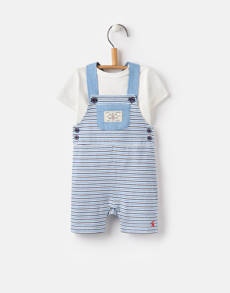 Joules Duncan Jersey Dungaree Set - Whitby Blue Stripe