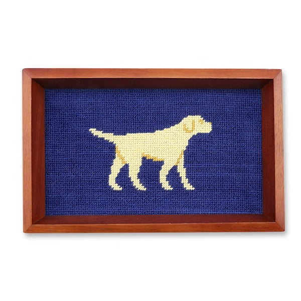 Smathers & Branson Yellow Lab Needlepoint Valet Tray - Classic Navy Chestnut Wood