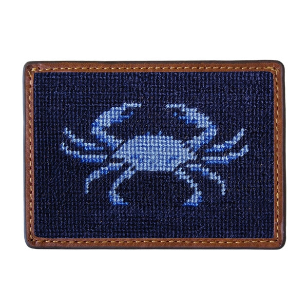 Smathers & Branson Blue Crab Needlepoint Card Wallet - Dark Navy