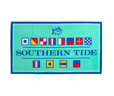 Southern Tide Nautical Flag Beach Towel - Offshore Green