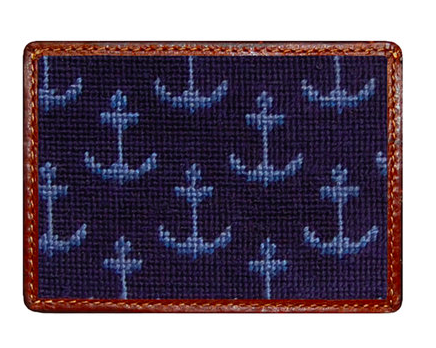Smathers and Branson Ships Anchors Needlepoint Card Wallet