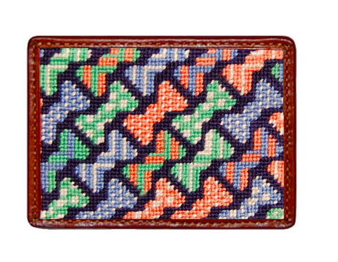 Smathers and Branson Bow Tie Pattern Needlepoint Card Wallet