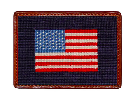 Smathers and Branson American Flag Needlepoint Card Wallet
