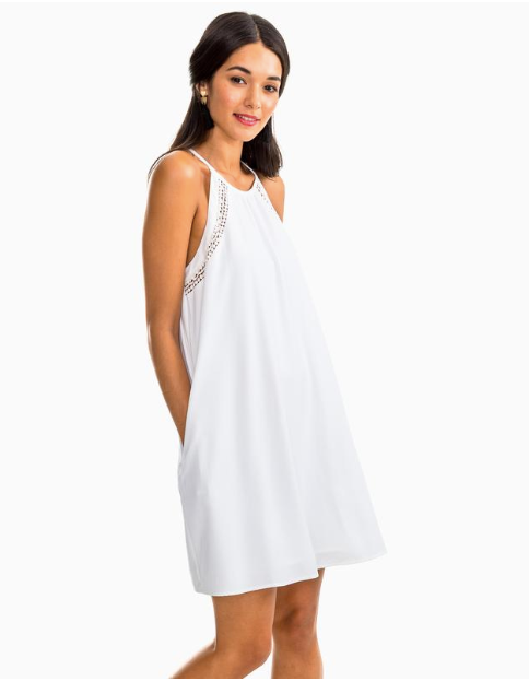 Southern Tide Christine Lace Inset Dress - White