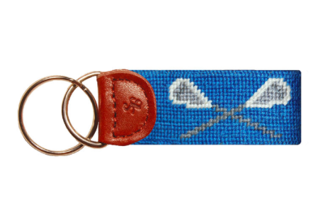 Smathers and Branson Crossed Lacrosse Sticks Needlepoint Key Fob