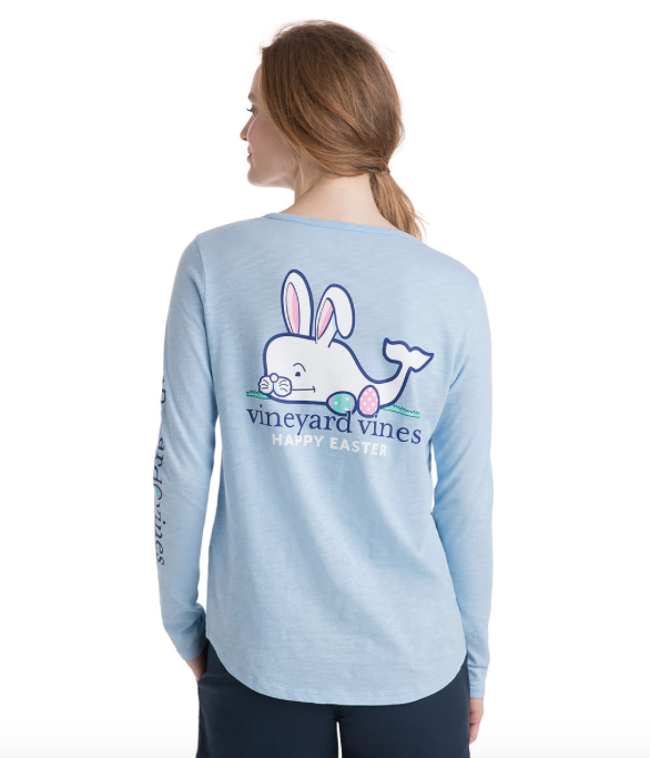 Vineyard Vines Womens Long-Sleeve Slub Easter Whale Tee