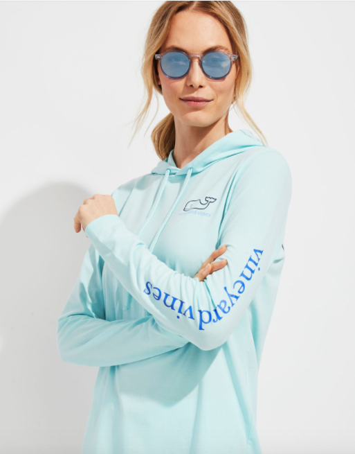 Vineyard Vines Edgartown Long-Sleeve Hoodie Tee - Aqua Haze