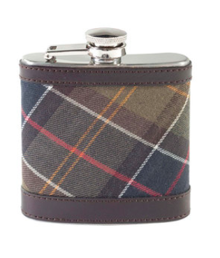 Barbour Tartan Hip Flask Front view