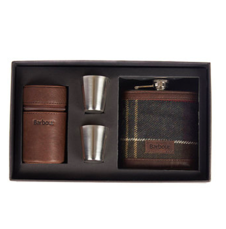 Front view Barbour Tartan Hip Flask And Cups in Gift Box