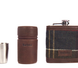 Unboxed Barbour Tartan Hip Flask And Cups in Gift Box