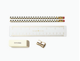 inside the Kate Spade Gold Dots Pencil Pouch