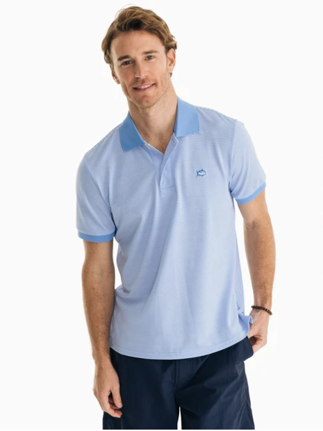 Southern Tide Jack Dinghy Striped Performance Pique Polo - Hurricane Blue