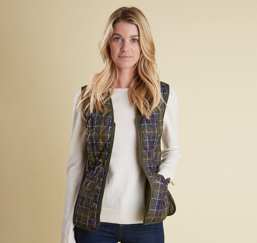 Barbour Tartan Betty Liner - Olive Front