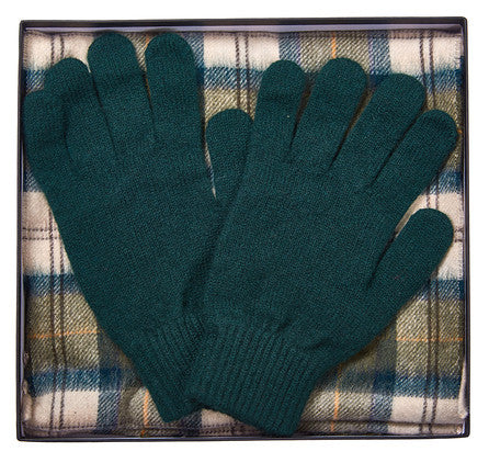 Barbour Scarf and Gloves Gift Box - Ancient