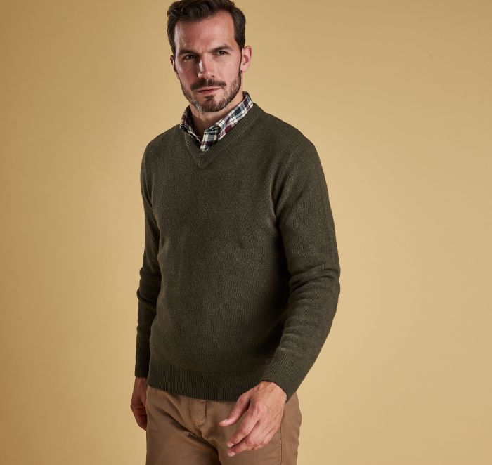 Barbour Nelson Essential V Neck Jumper - Seaweed Front