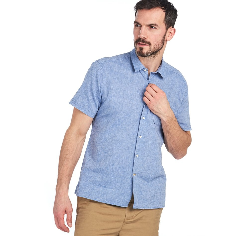 Barbour Linen Mix 1 Short Sleeved Shirt - Blue