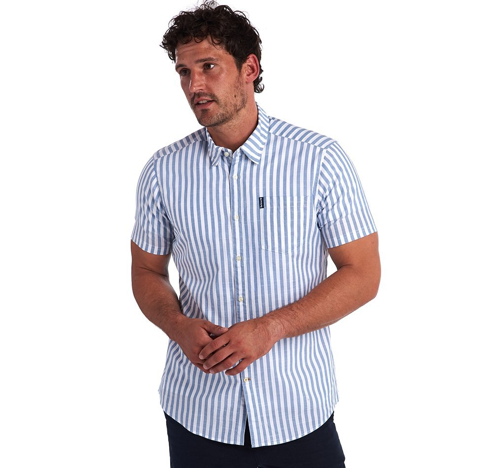 Barbour Farmby Short Sleeved Shirt - Mid Blue