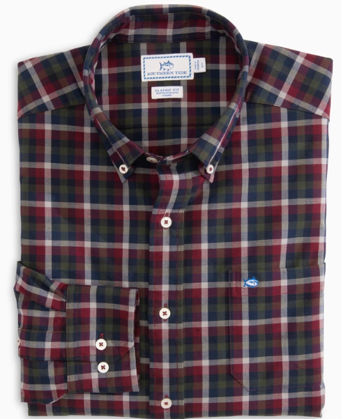 Southern Tide Picket Boat Oxford Sport Shirt - Black Cherry