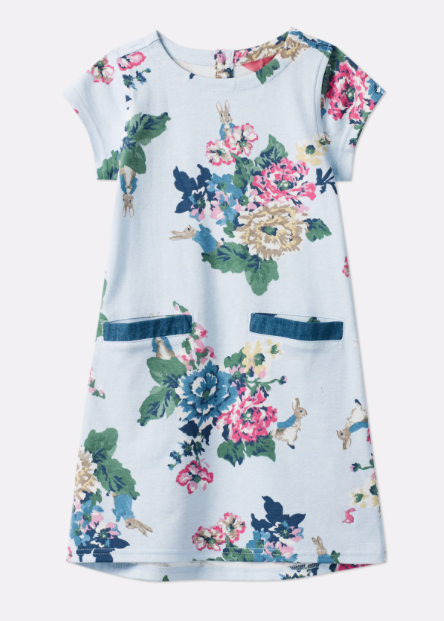 Joules Patch Official Peter Rabbit Collection Pocket Dress - Rabbit Floral