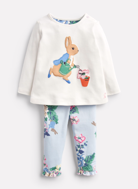 Joules Poppy Official Peter Rabbit Collection Top and Pants Set - Gardening Peter