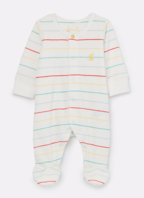 Joules Velour Babygrow - White Multi Stripe