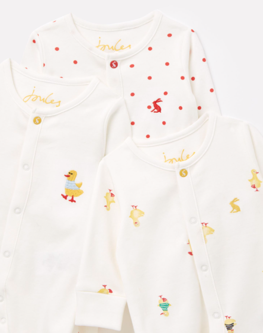 Joules Organically Grown Cotton 3 Pack Babygrow - Ducklings