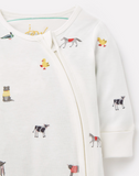 Joules Organically Grown Cotton Zip Babygrow - Farm Print