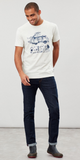 Joules Flynn Graphic Print Crew Neck T-Shirt - Cream Marl