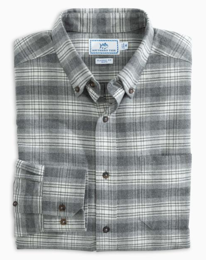 Southern Tide Brushed Oxford Plaid Button Down Shirt - Gravel Grey