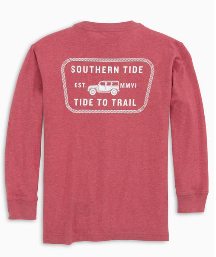 Southern Tide Children's Tide to Trail Truck Long Sleeve T-Shirt - Heather Saltwater Red