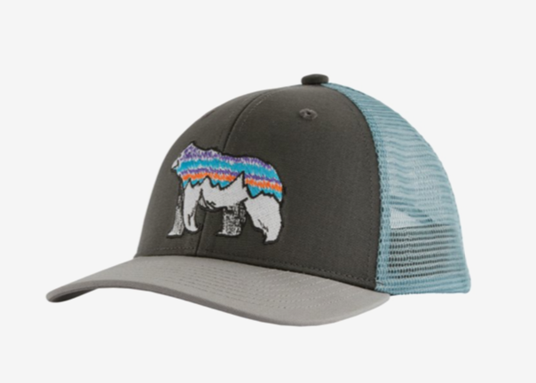 Patagonia Kids' Trucker Hat - Illustrated Fitz Bear: Forge Grey