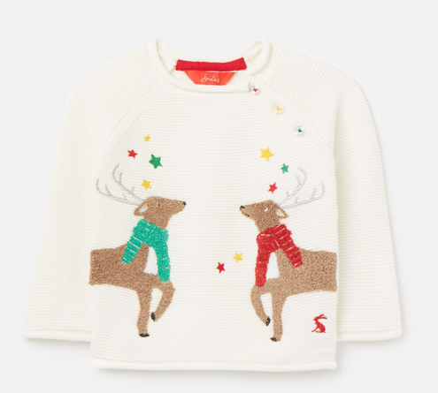 Joules Winnie Artwork Knitted Sweater - White Reindeer