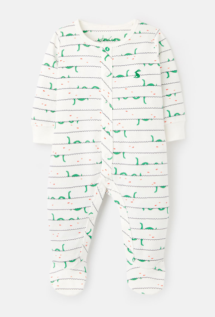 Joules Ziggy Cotton Printed Sleepsuit - White Nessie