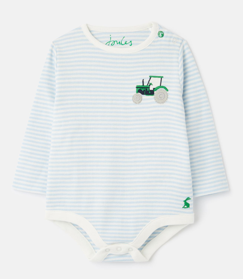 Joules Snazzy Luxe Rib Embroidered Bodysuit - Blue Tractor