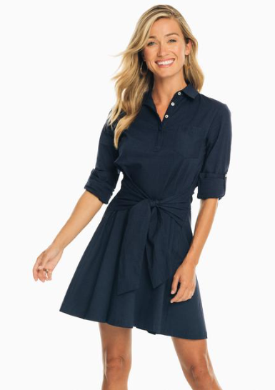 Southern Tide Aliya Tie Waist Seersucker Shirt Dress - Nautical Navy