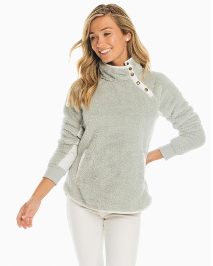 Southern Tide Laura Sherpa Fleece Pullover - Gravel Grey