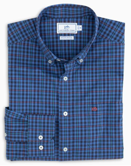 Southern Tide Coastal Passage Boulder Check Sport Shirt - Over Sea Blue
