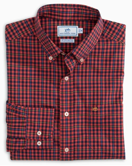 Southern Tide Coastal Passage Boulder Check Sport Shirt - Terracotta