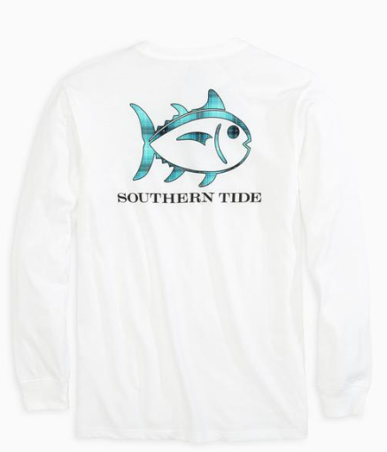 Southern Tide Plaid Skipjack Long Sleeve T-Shirt - Classic White
