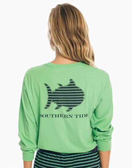 Southern Tide Striped Skipjack Long Sleeve T-Shirt - Heather Greenbriar