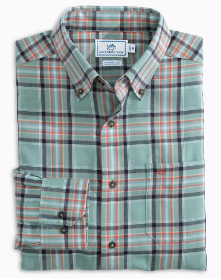 Southern Tide Brushed Twill Plaid Button Down Shirt - Loggerhead