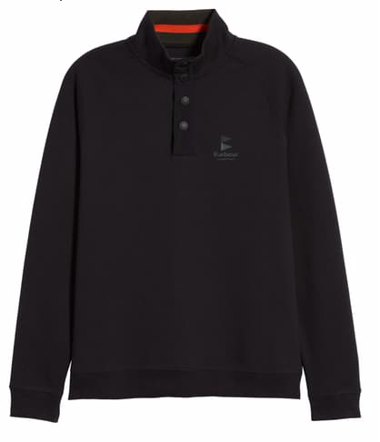 Barbour Men's Cromer Half Snap Pullover Sweater - Black
