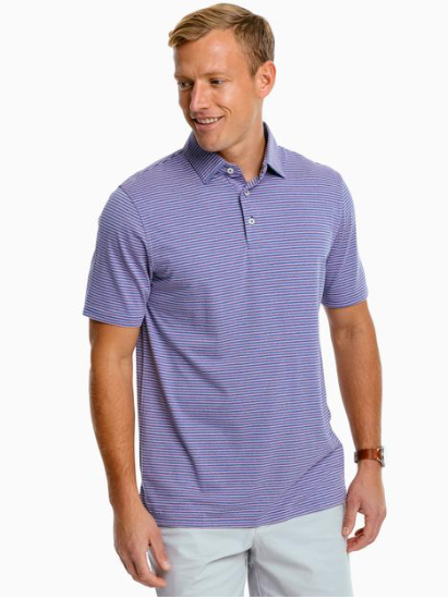 Southern Tide Ryder Montefuma Heather Striped Performance Polo Shirt - Blue Cove