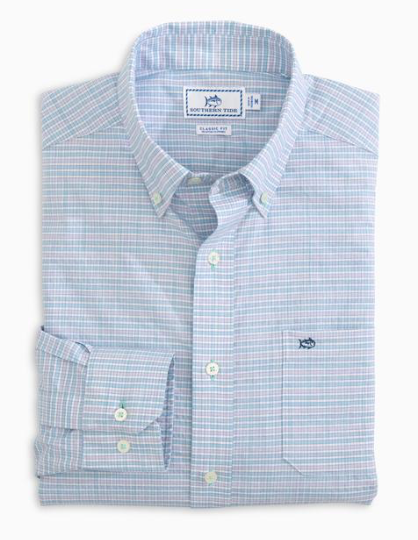 Southern Tide Guarded Gingham Spacedye Button Down Shirt - Lavender Mist