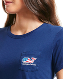 Vineyard Vines Women's Patriot Whale Pocket Tee - Baltic Blue