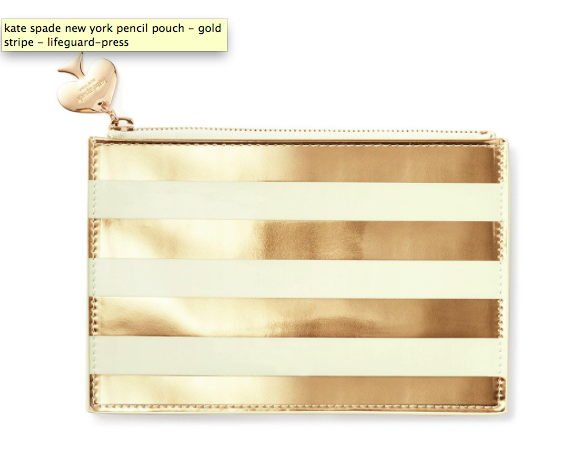 Kate Spade Pencil it in Pencil Pouch - Gold Stripe