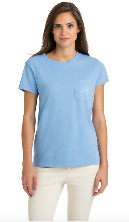 Vineyard Vines Relaxed Vintage Whale Pocket Tee - Hydrangea
