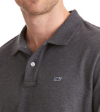 Vineyard Vines Stretch Pique Heather Polo - Charcoal