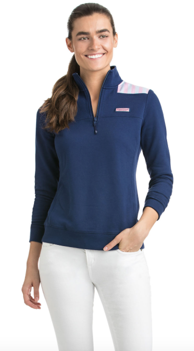 Vineyard Vines Stripe Shoulder Classic Shep Shirt - Deep Bay